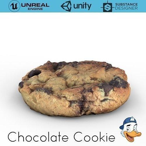 chocolate cookie 3d model obj mtl fbx c4d unitypackage prefab uasset 1