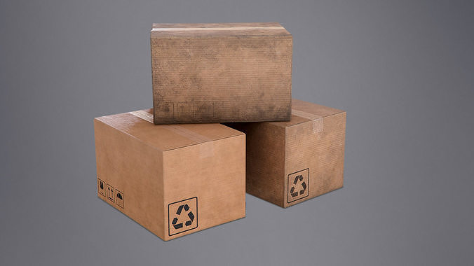cardboard box - pbr game ready 3d model fbx tga 1