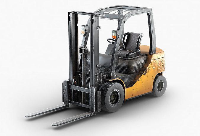 forklift truck for games and videos 3d model max obj mtl fbx ma mb spp 1