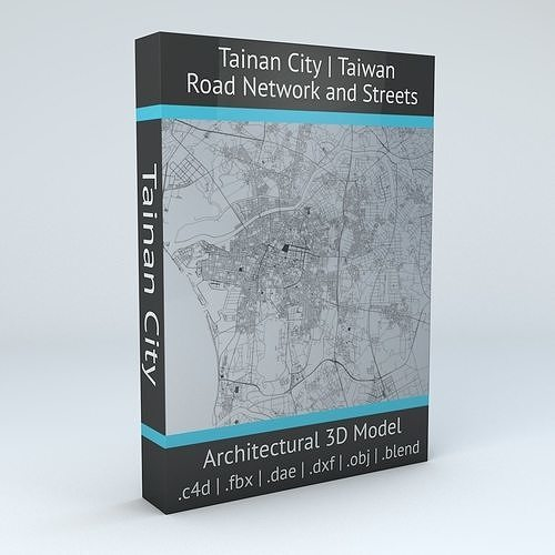 tainan city  road network and streets 3d model obj mtl fbx c4d dxf blend dae 1