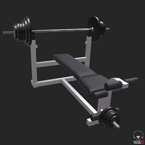 weight bench low poly game ready 3d model obj mtl 3ds fbx stl blend abc 1