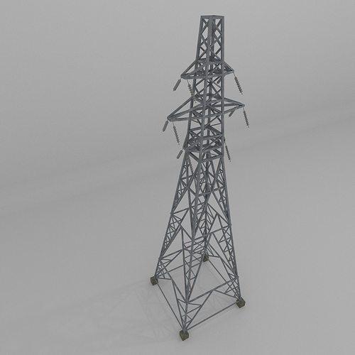 column power lines 3d model low-poly obj mtl 3ds fbx blend dae x3d 1