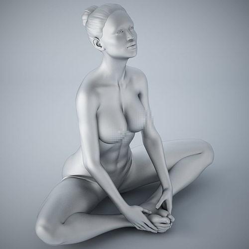 woman yoga 010 3d model obj mtl stl 1