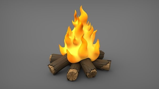 bonfire cartoon  3d model obj mtl fbx stl wrl wrz 1