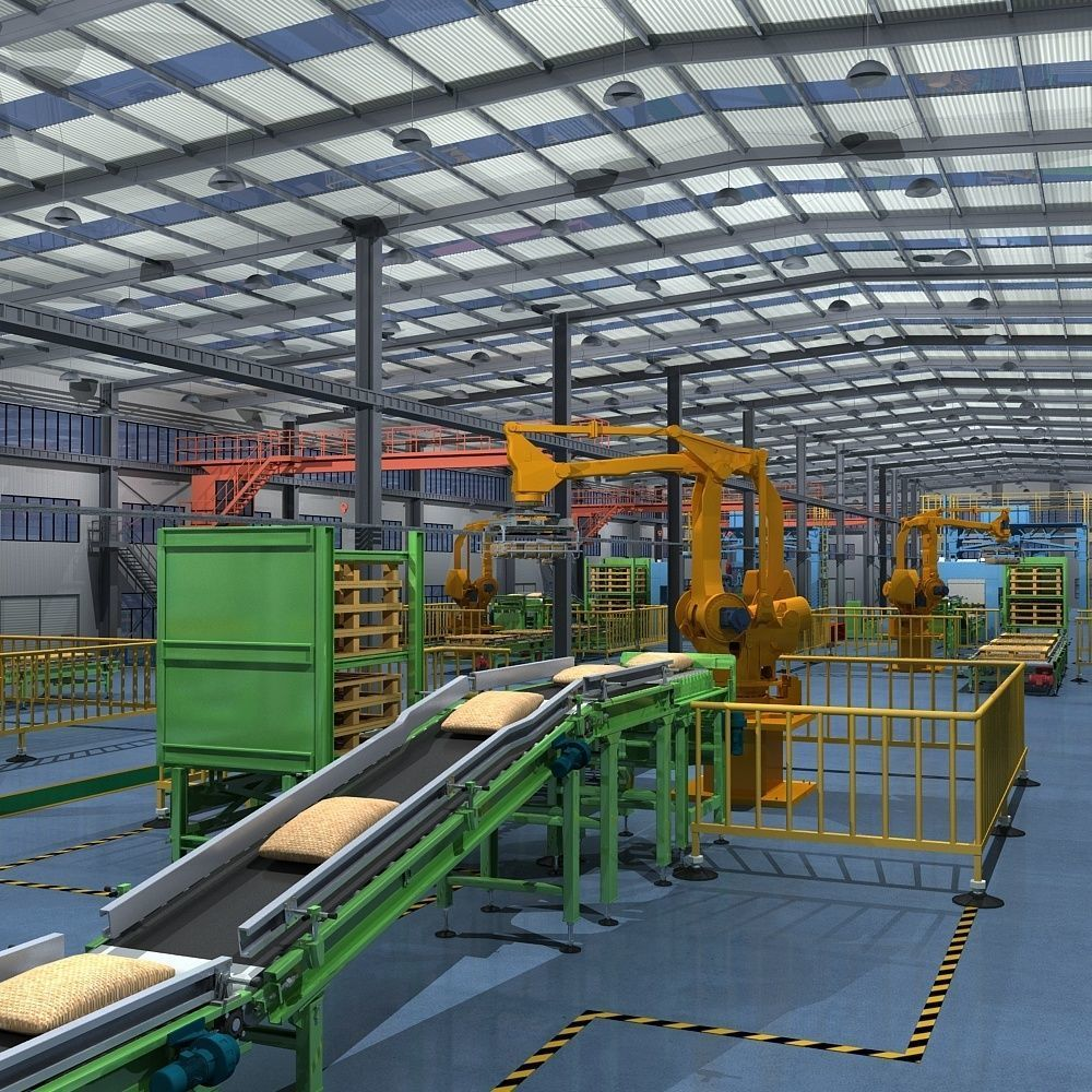 Factory Interior Scene and Equipment
