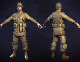 american soldier world war low poly low-poly 3d asset