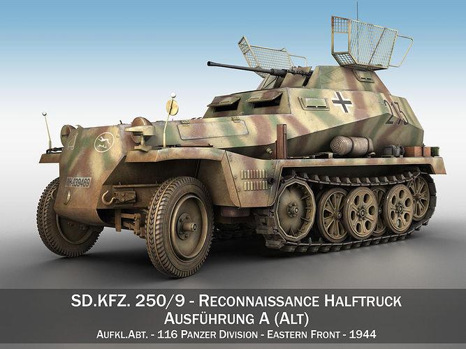 sd kfz 250 9 - reconnaissance halftruck - 116 pzdiv 3d model obj mtl 3ds fbx c4d lwo lw lws 1