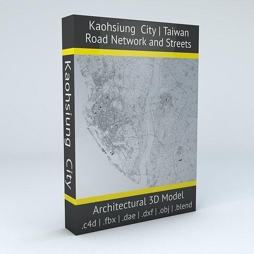 kaohsiung city  road network and streets 3d model obj mtl fbx c4d dxf blend dae 1
