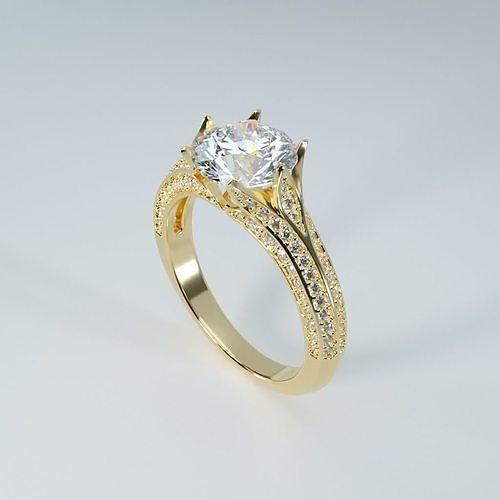 beautiful 8mm round diamond flower ring 3d print model