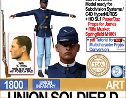 Civil War Union Soldier D African American Infantry wt 3D