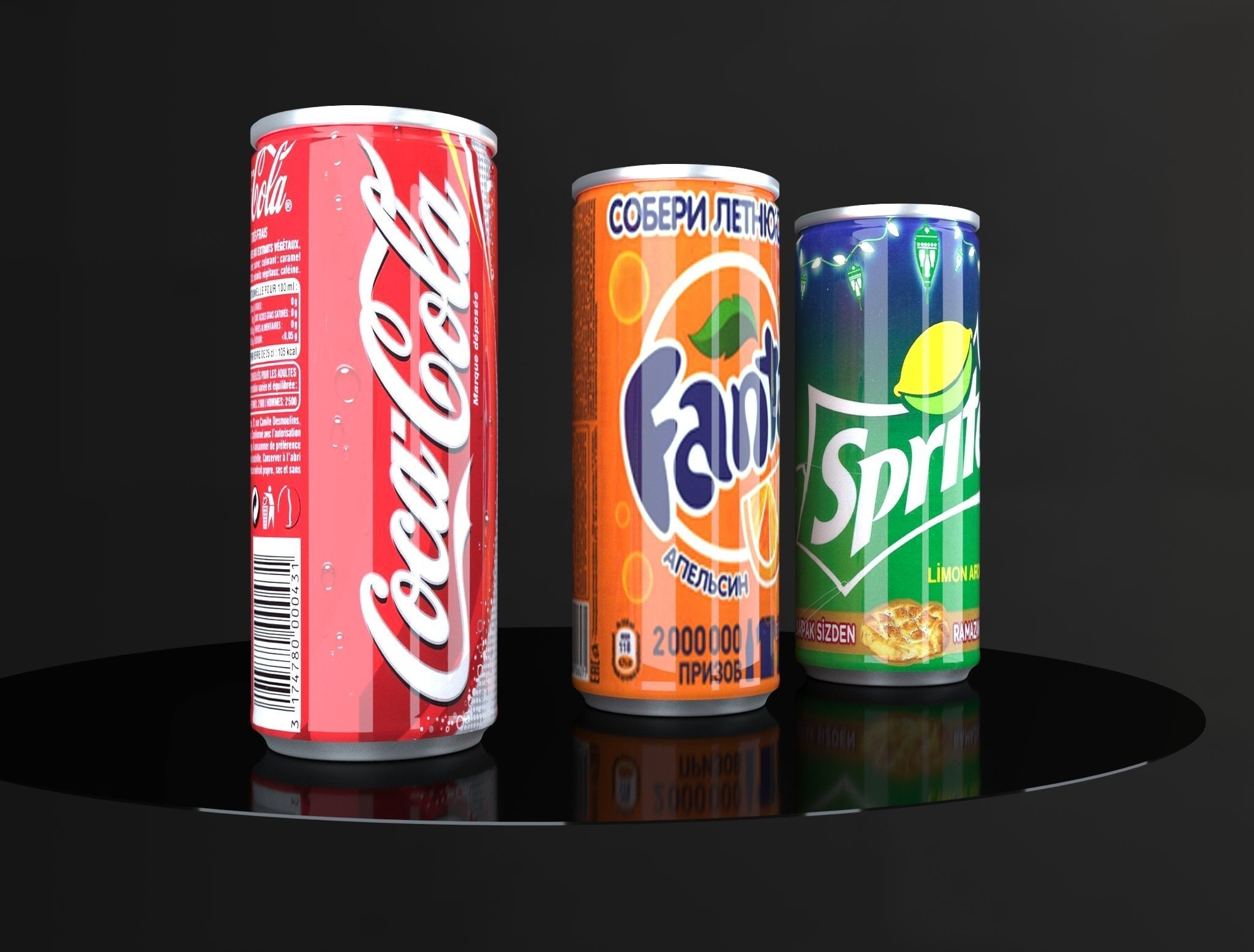Coca Cola Fanta Sprite Cans