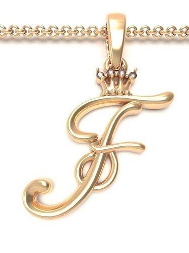 Alphabet Initial pendant letter F Crown