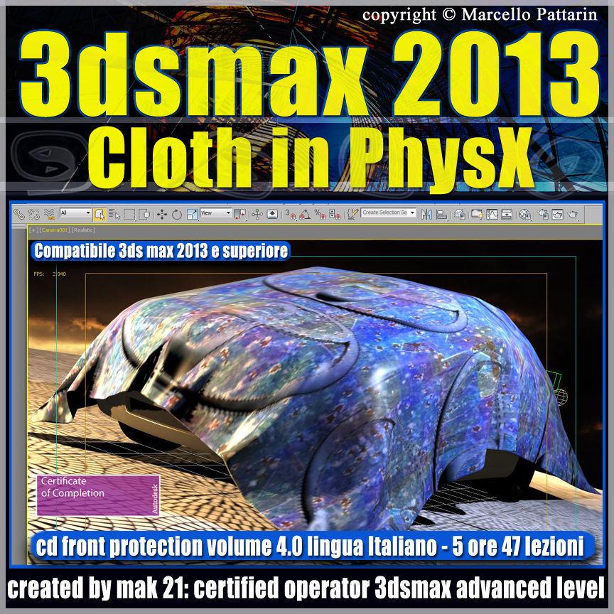 3dsmax 2013 Cloth in PhysX v 4 Italiano cd front
