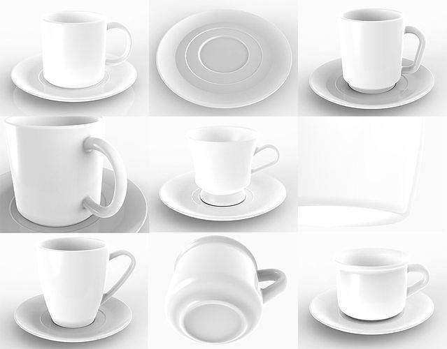 mug collection 3d model obj mtl 3ds 3dm stp 1