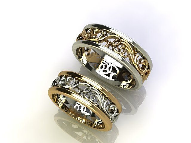Vas 2 Wedding Rings Any Size Model M 1