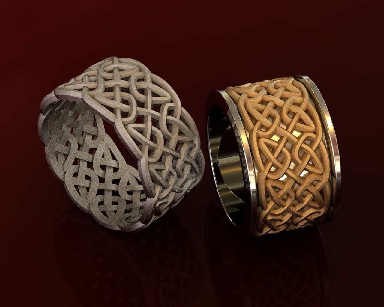 Celtic Wedding Rings with Knot