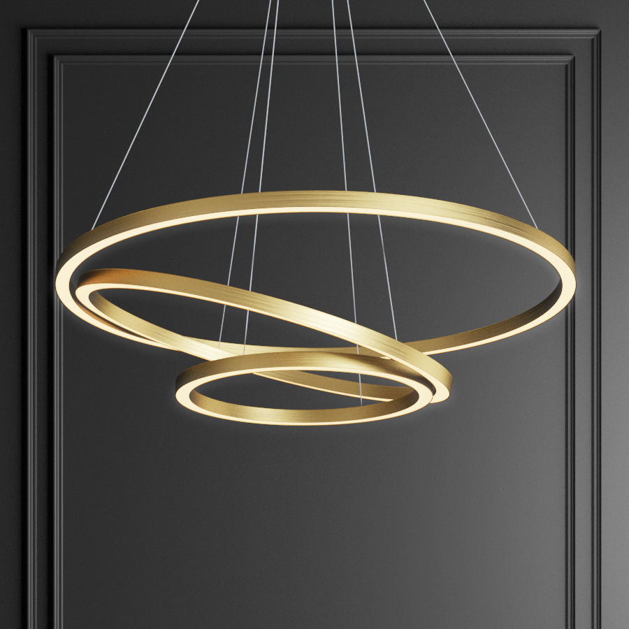 uk availability cb846 389cd Capella Black and Gold 3 Ring Chandelier | 3D model