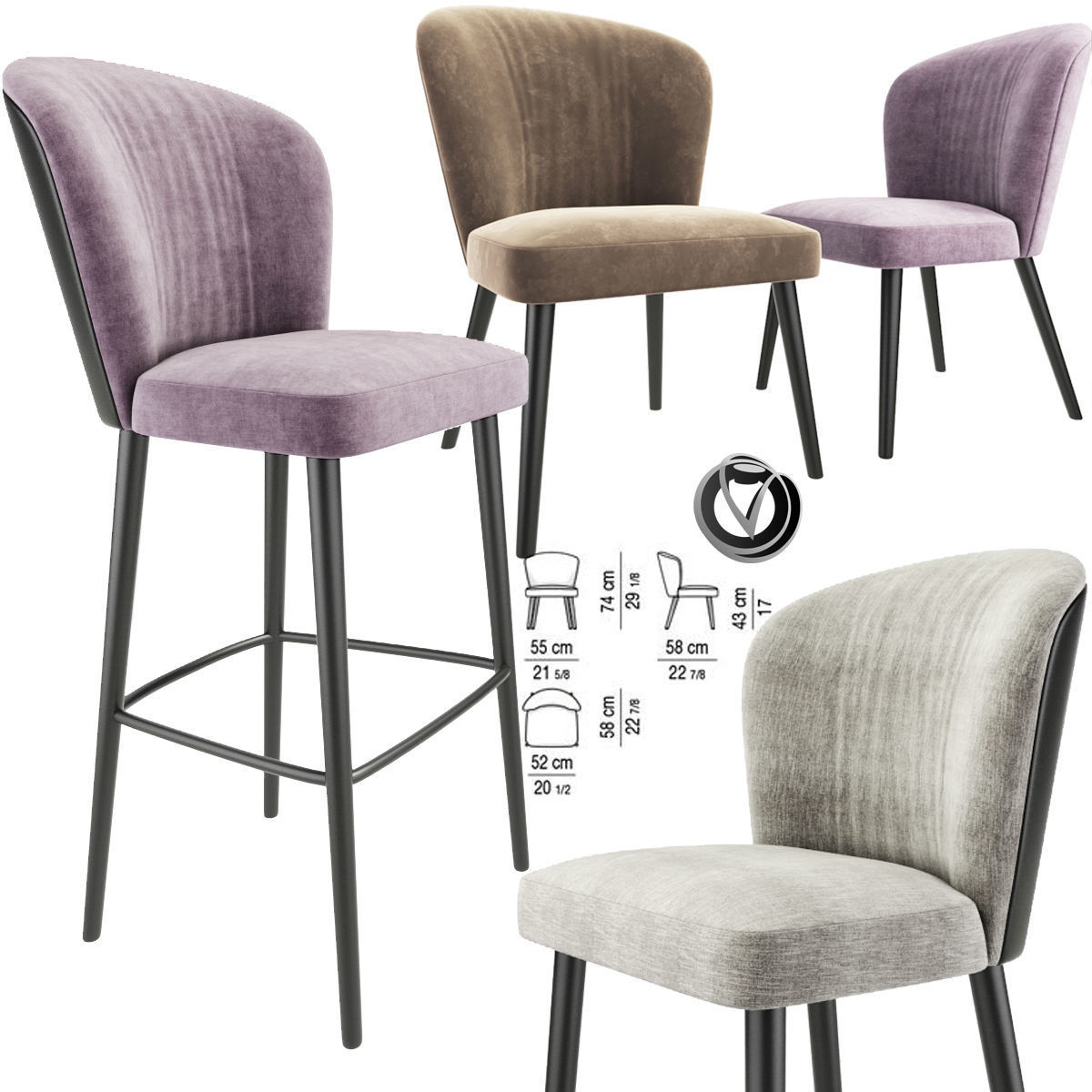 Pleasant Minotti Aston Bar Stool And Lounge Chair 3D Model Camellatalisay Diy Chair Ideas Camellatalisaycom