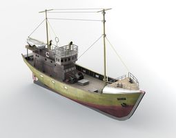 3d model low-poly kuter b-25 polish fishing boat b-25 class