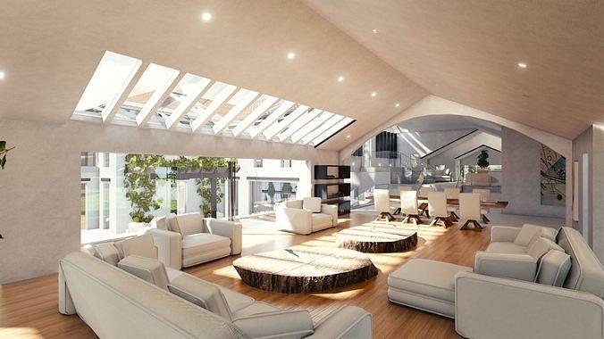 blender eevee modern mansion 3d model obj mtl fbx stl blend dae x3d 1