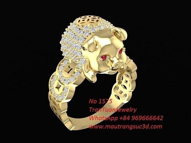1575 lucky diamond pig ring 3d model stl 3dm 1
