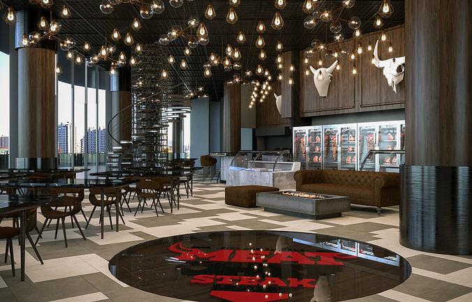 Restaurant Cafe Bar Interior 3D model | CGTrader