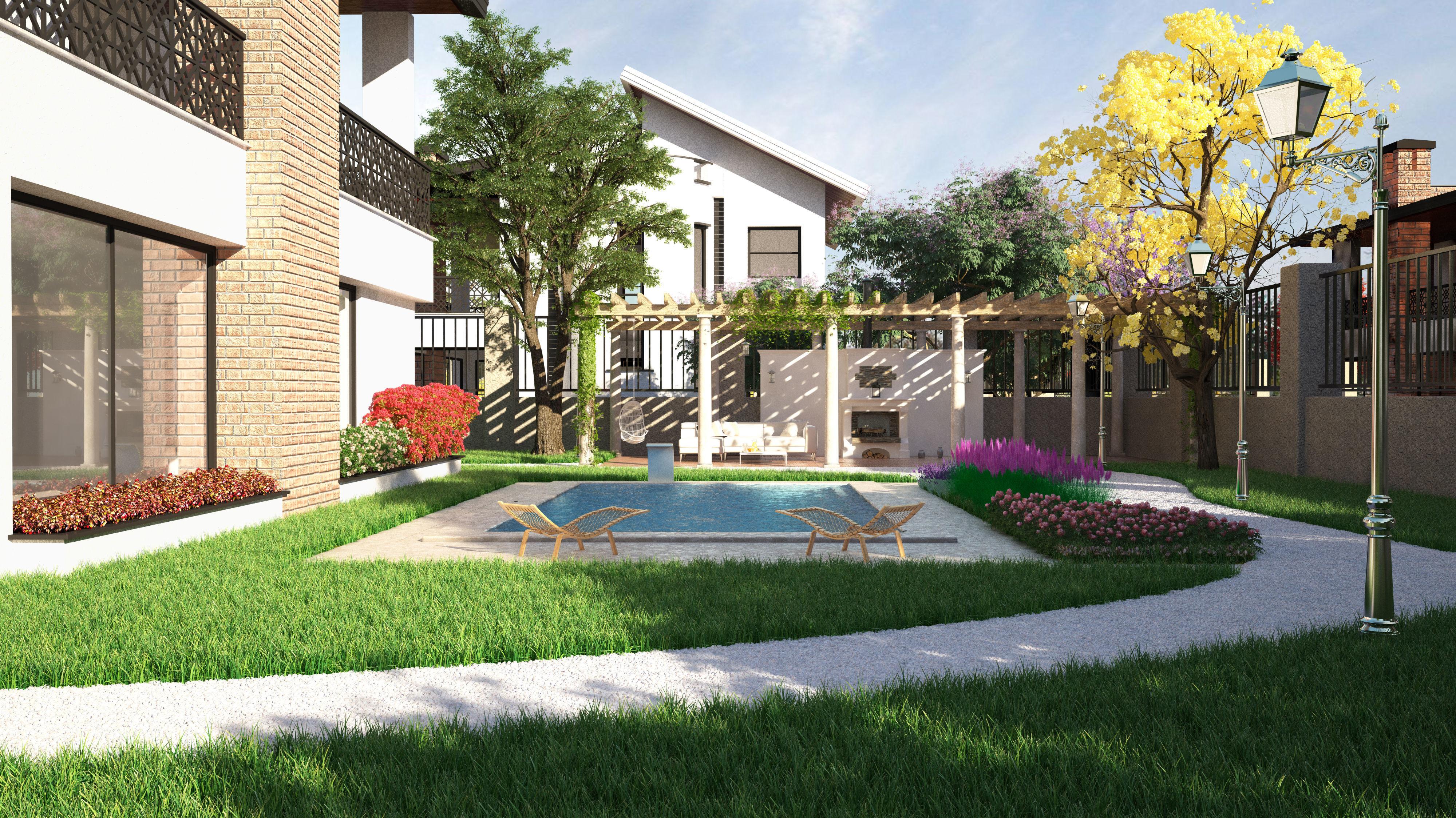 pool Garden design 3ds max | CGTrader