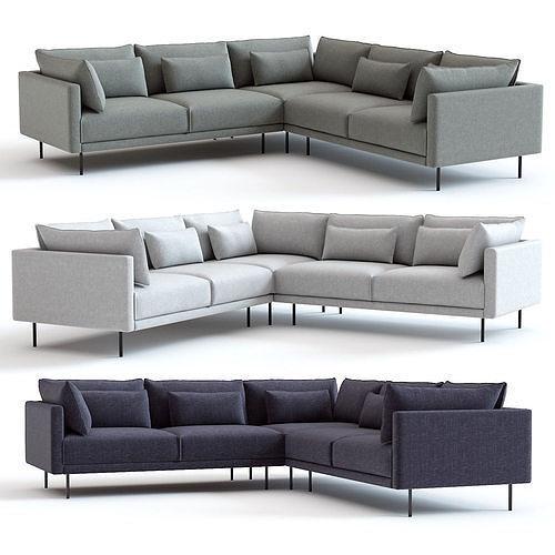 3D model West Elm Halsey L-Shaped Sectional Sofa