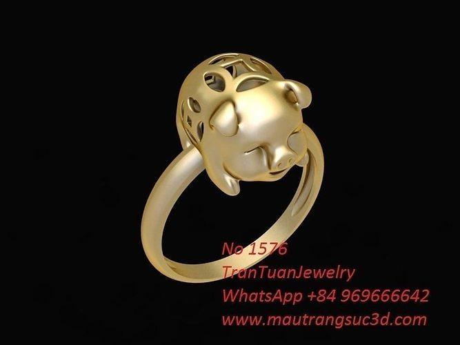 1576 lucky gold pig ring 3d model stl 3dm 1