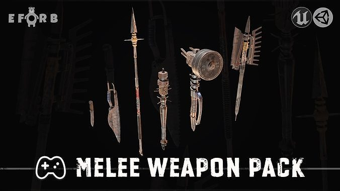 melee weapon pack 3d model low-poly max obj mtl 3ds fbx ma mb unitypackage prefab 1