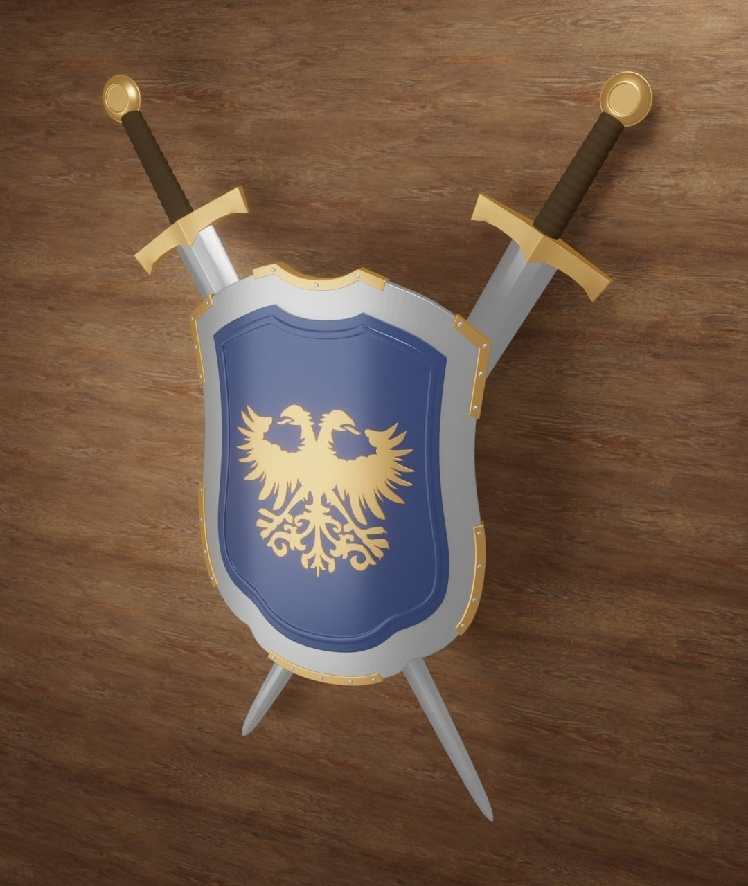 Medieval Shield with double headed eagle emblem