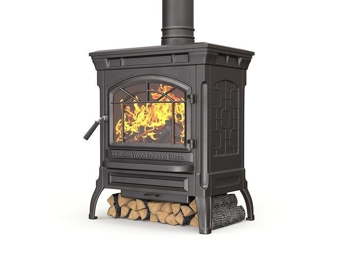wood burning stove 3d model obj mtl fbx blend 1