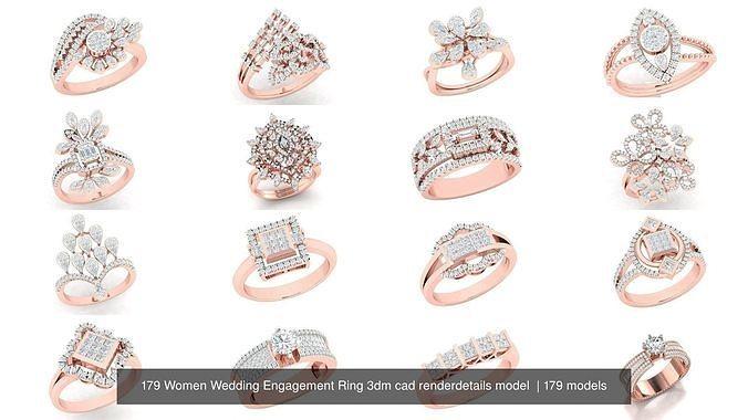 179 Women Wedding Engagement Ring 3dm cad render details model