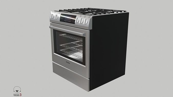 gas slide-in range - hgi8054uc by bosch 3d model obj mtl fbx unitypackage prefab uasset 1