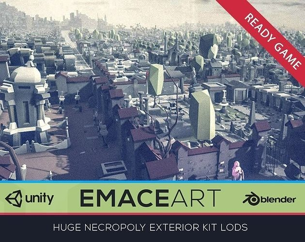 NECROPOLY Graveyard Exterior Kit LODs Low-poly