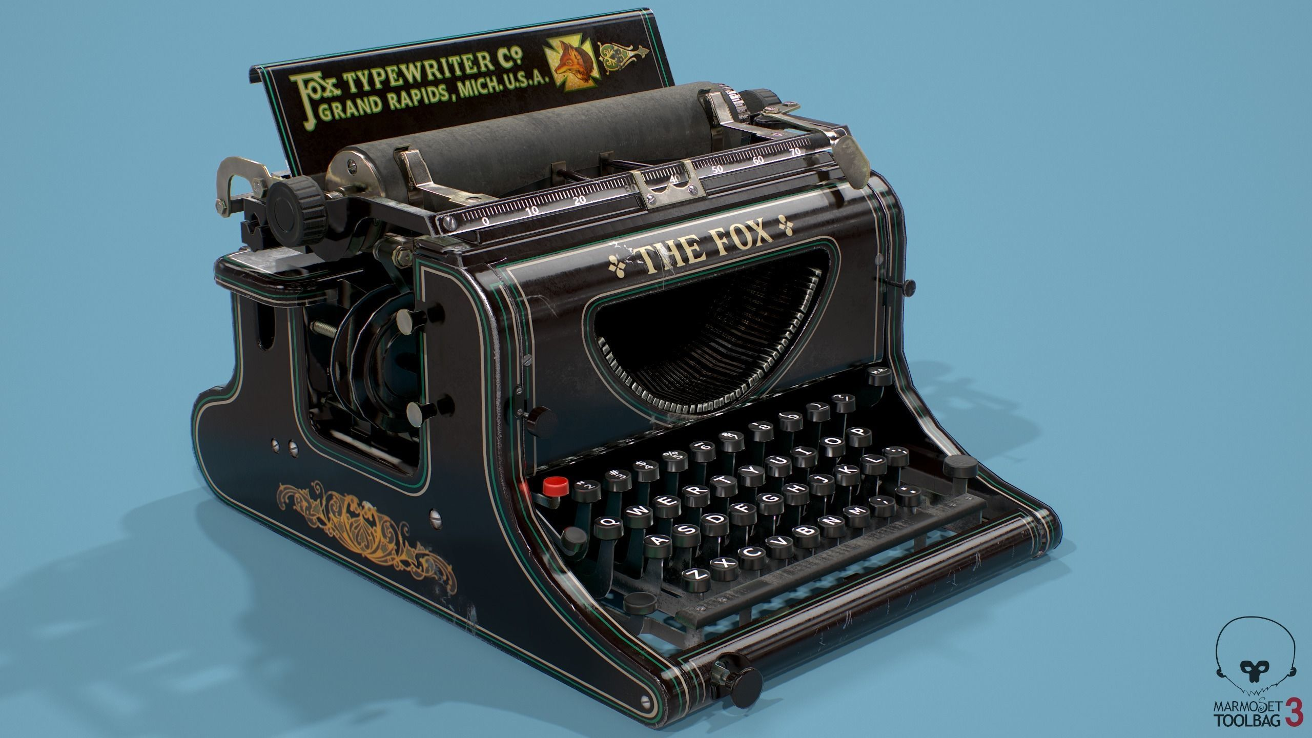 Typewriter Fox Low poly 3D model