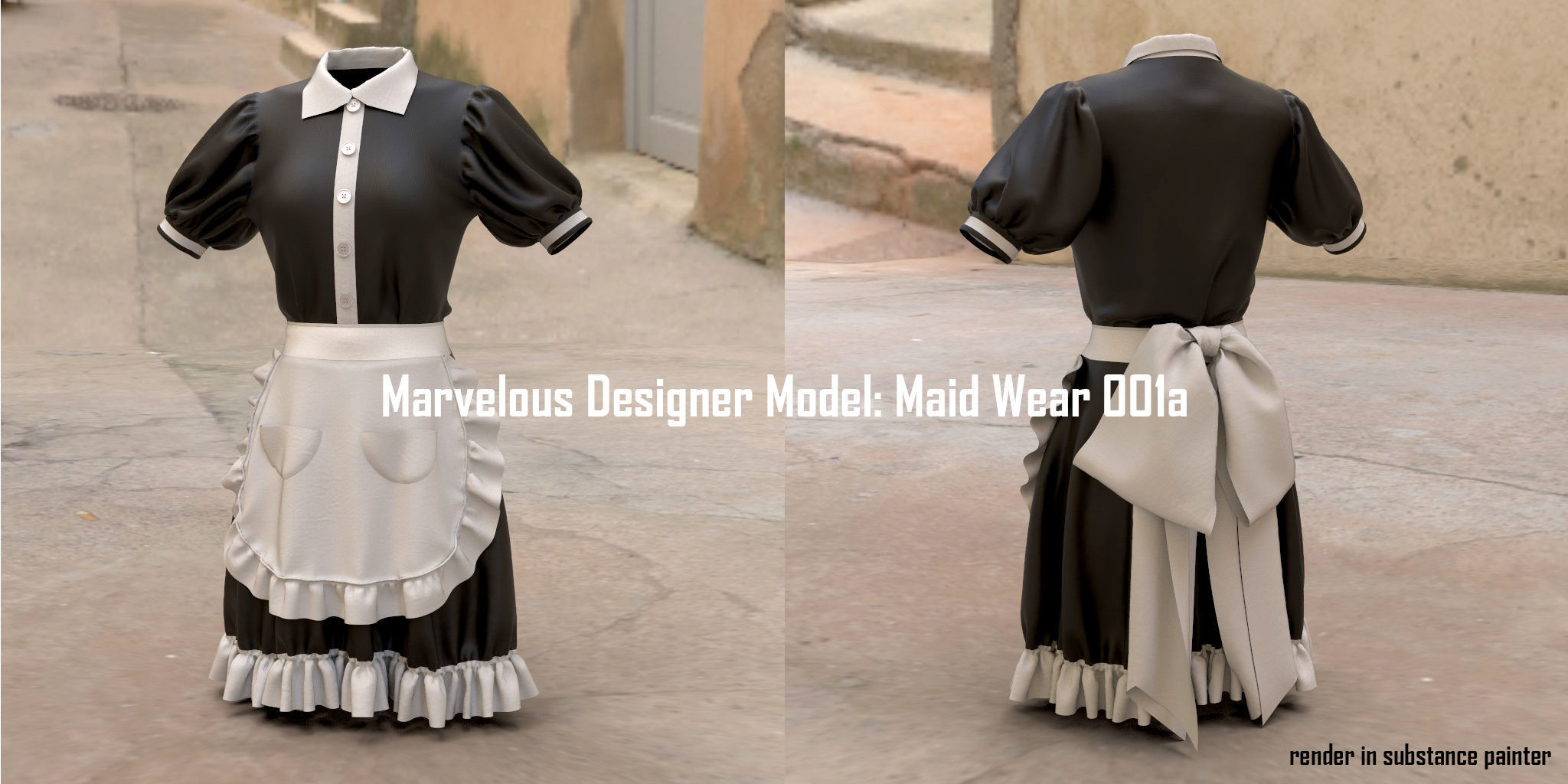 Marvelous Designer Model Maid Wear 001a
