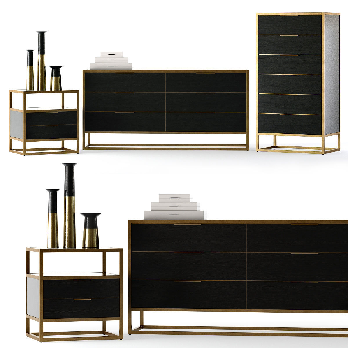 3d Model Crate And Barrel Oxford Bedroom Set Cgtrader