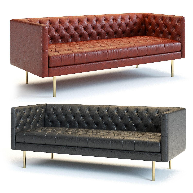 West Elm Modern Chesterfield Sofa 3d Model