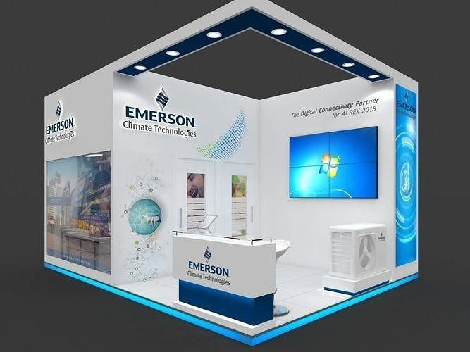 exhibition stall 3d model 27 sqmtr 2sides open emerson electric 3d model max 1