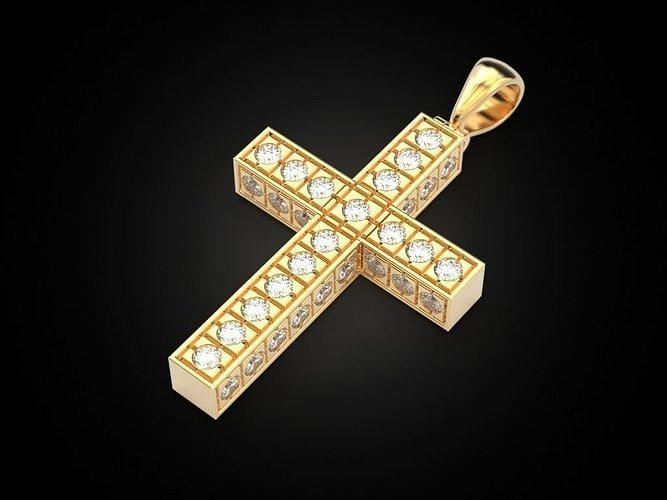square cross with gems 3d model stl 3dm 1