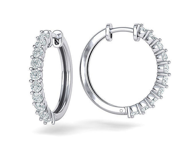 sparkling diamond hoop earrings 20mm size 3dmodel 3d model stl 3dm 1
