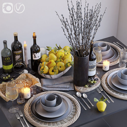table setting with brunches 3d model max fbx 1