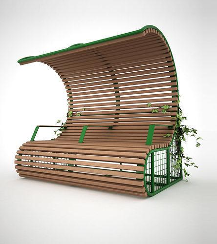 22 bench with shelter 3d model max skp tga 1