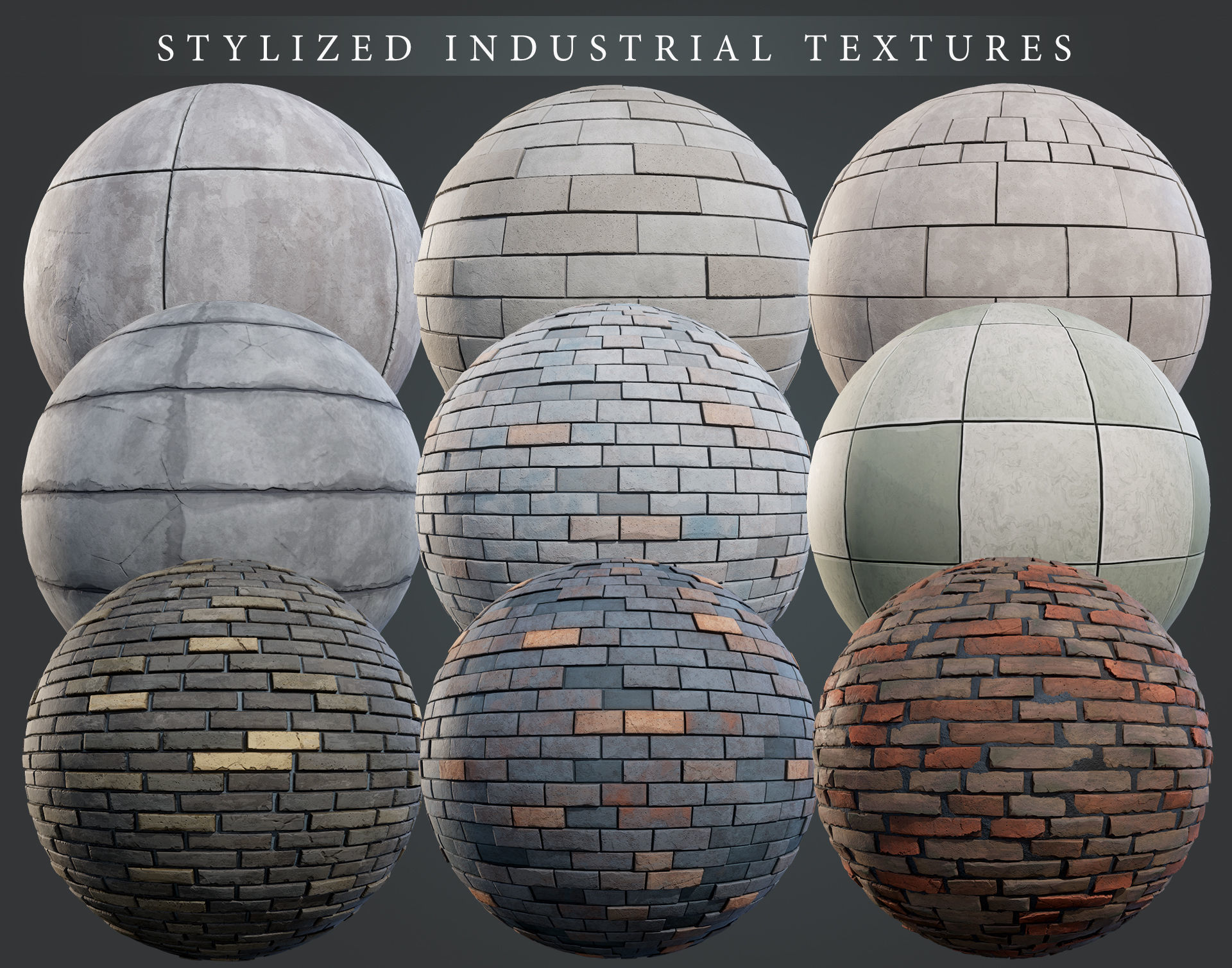 Stylized Industrial PBR material pack