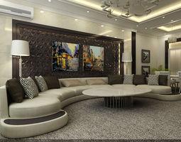 3D model Interior Scene - Flat 03 - living room