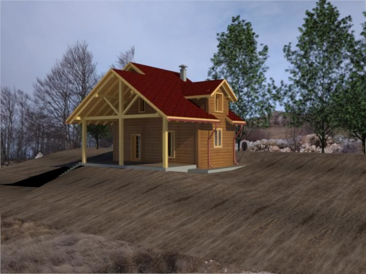 Architecture Revit House Project Of Log Cabin Model