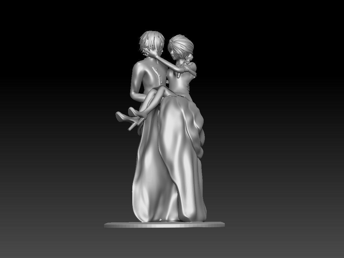 Groom and Bride 3D model for wedding cake
