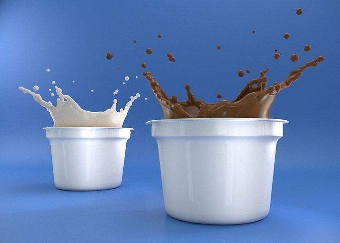 realistic milk and splash 3d model 3d model max obj mtl 3ds fbx 1