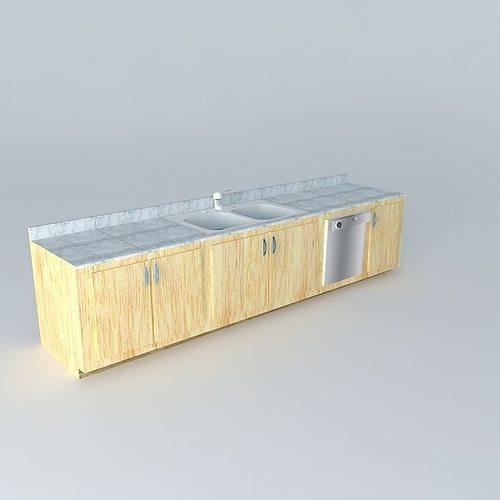 Kitchen Sink Cabinets And Built In Dishwasher Model Max Obj Mtl S Fbx Stl Dae